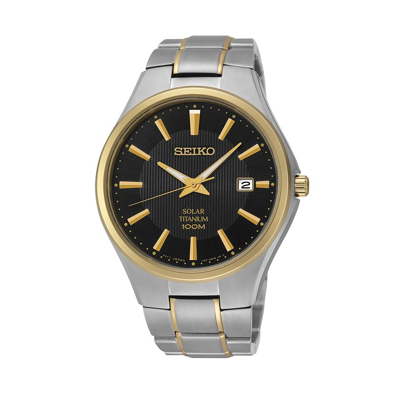 Seiko Men's Two Tone Titanium Solar Watch - SNE382