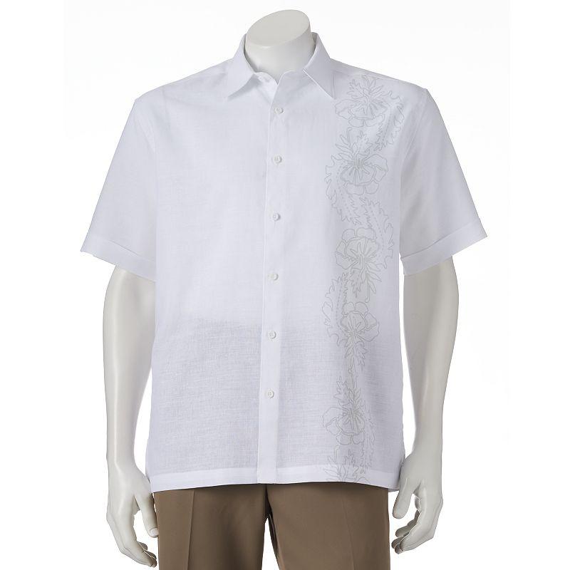 Men's Havanera Tonal Floral Classic-Fit Button-Down Shirt