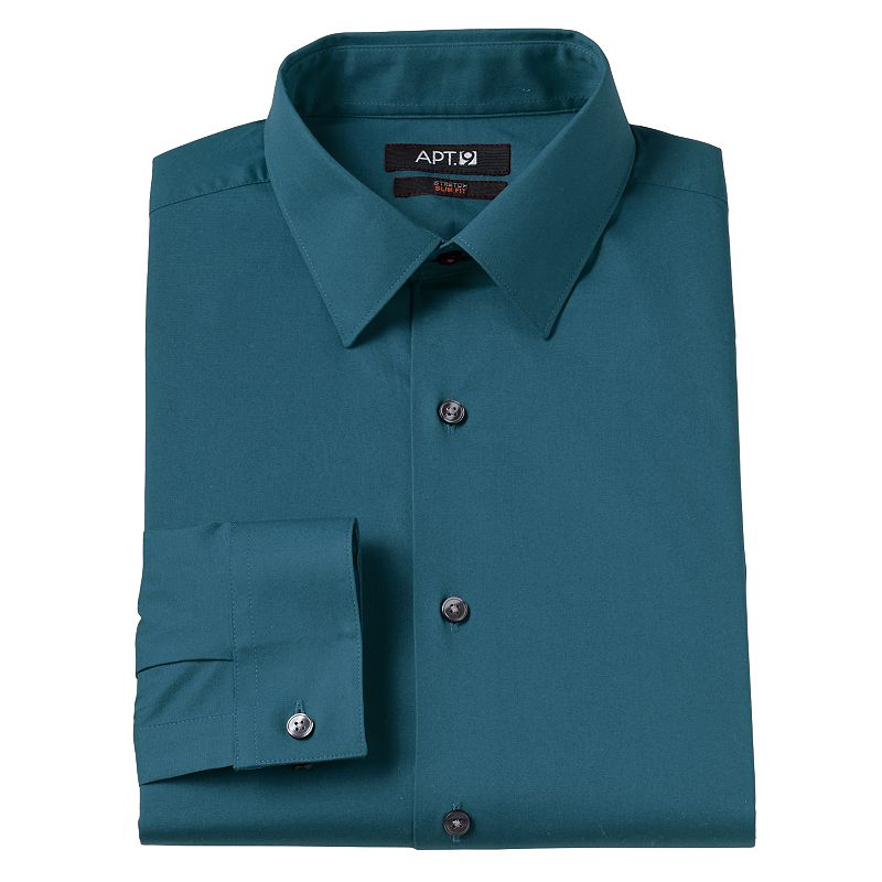 Men 39 s apt 9 modern fit solid stretch spread collar dress for Mens wide collar dress shirts