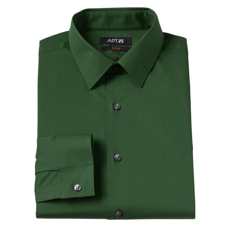... Modern-Fit Solid Stretch Spread-Collar Dress Shirt | DealTrend