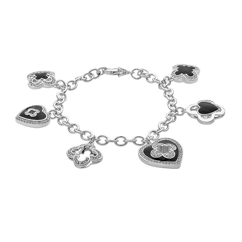 Marie Claire Jewelry Crystal Silver Tone Clover Charm Bracelet