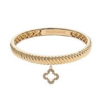 Marie Claire Jewelry Crystal Gold Tone Clover Charm Bangle Bracelet