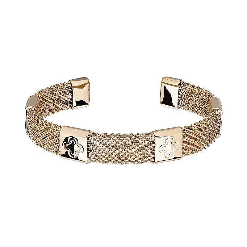 Marie Claire Jewelry Gold Tone Clover Mesh Cuff Bracelet