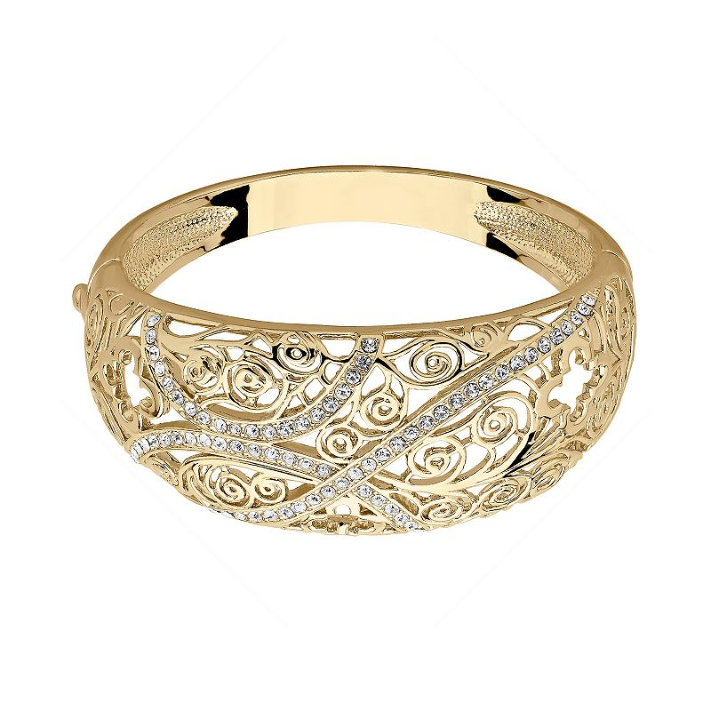 Marie Claire Jewelry Crystal Gold Tone Filigree Bangle Bracelet