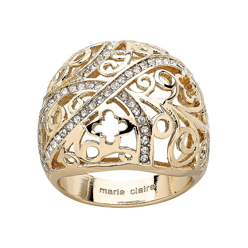 Marie Claire Jewelry Crystal Gold Tone Stainless Steel Filigree Clover Dome Ring