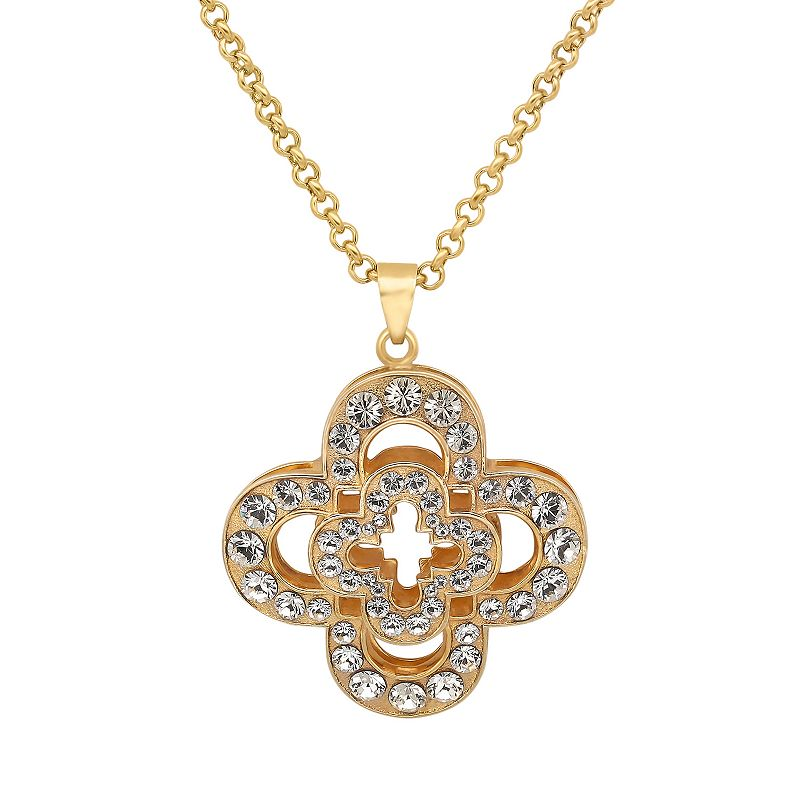 Marie Claire Jewelry Crystal Gold Tone Clover Pendant Necklace