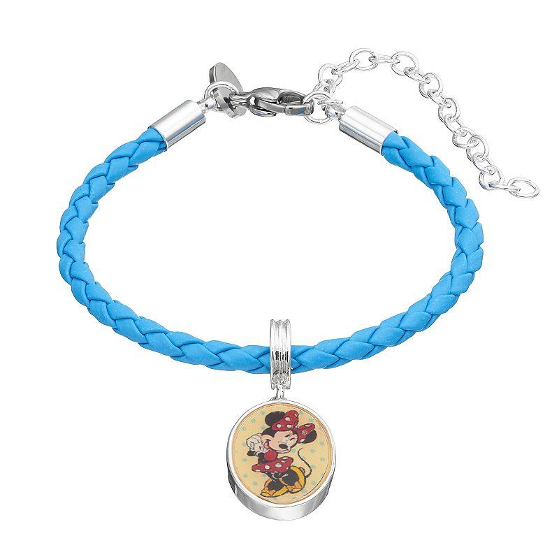 Disney's Minnie Mouse Silver-Plated Woven Charm Bracelet - Kids