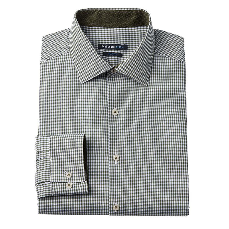 Van heusen studio slim fit gingham plaid spread collar for Van heusen plaid shirts