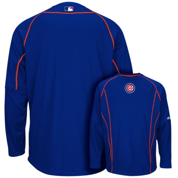 Men's Majestic Chicago Cubs On-Field Practice Therma Base Fleece Pullover