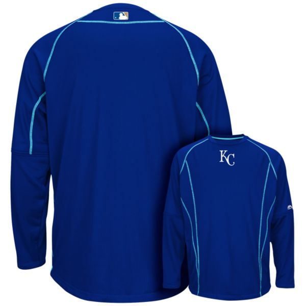 Men's Majestic Kansas City Royals On-Field Practice Therma Base Fleece Pullover