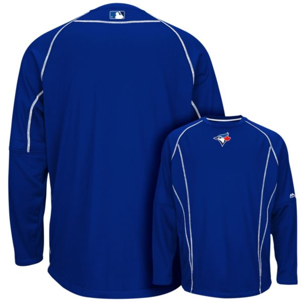 Men's Majestic Toronto Blue Jays On-Field Practice Therma Base Fleece Pullover