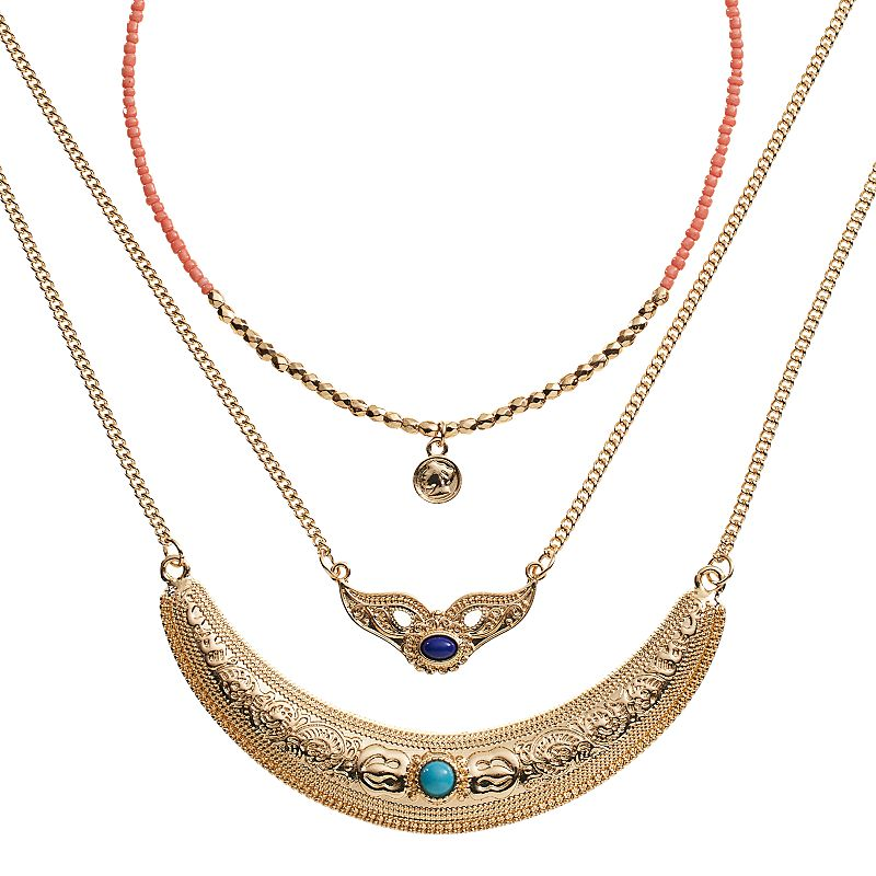 Mudd® Crescent & Bead Necklace Set