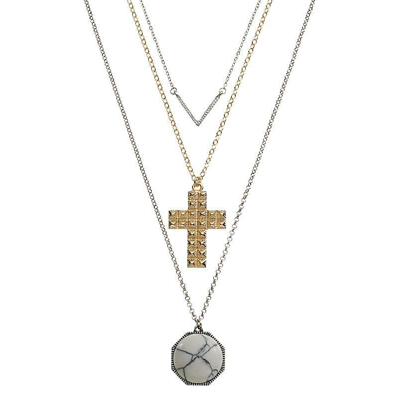 Mudd® Chevron, Cross & Cabochon necklace Set