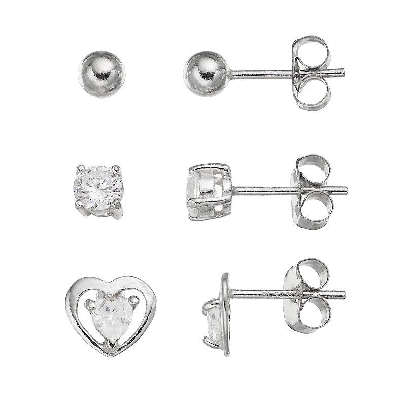 Cubic Zirconia Sterling Silver Heart & Ball Stud Earring Set