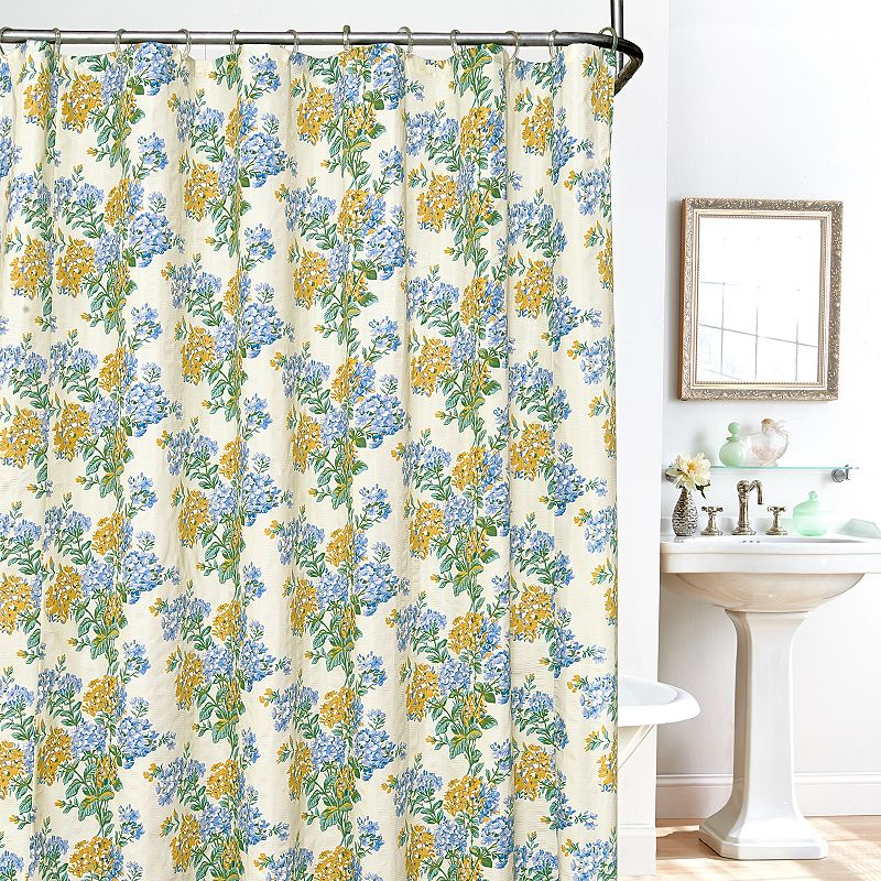 Plisse Hydrangea 14-pc. Fabric Shower Curtain, Liner and Hook Set