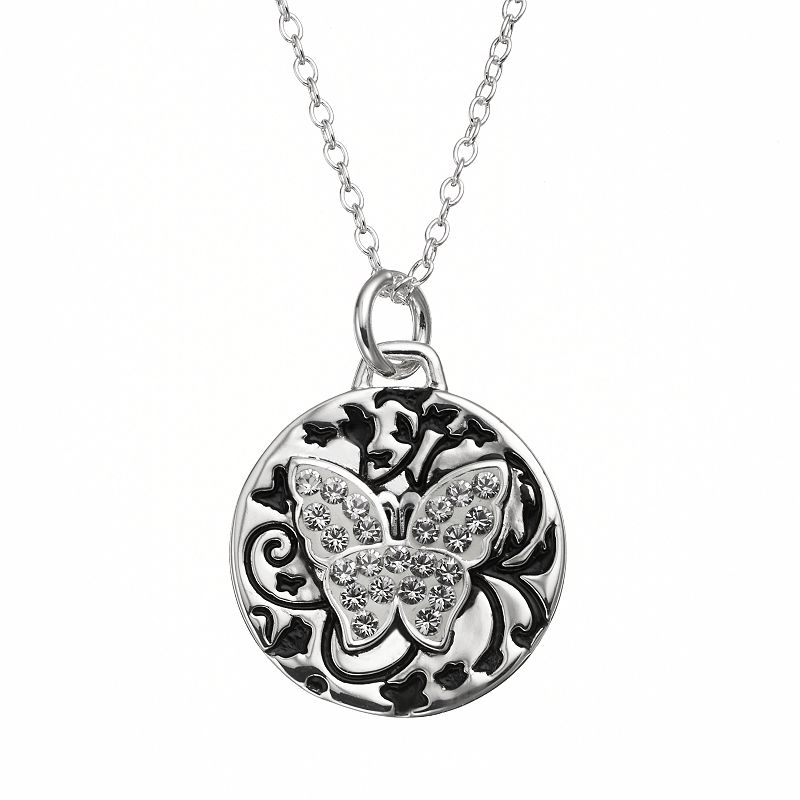 Disney's Cinderella Crystal Silver-Plated Butterfly Pendant Necklace