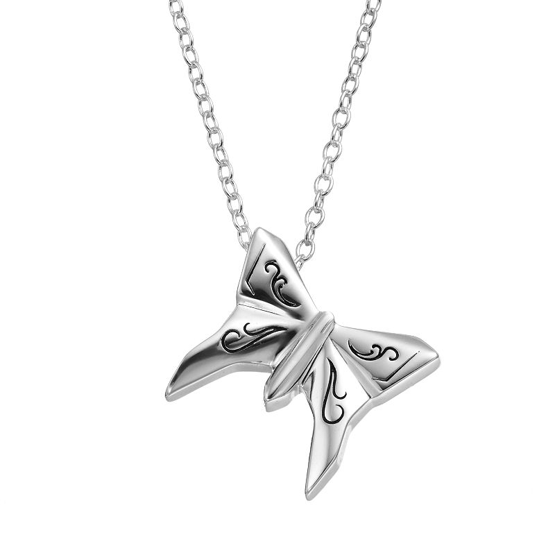 Disney's Cinderella Silver-Plated Butterfly Pendant Necklace