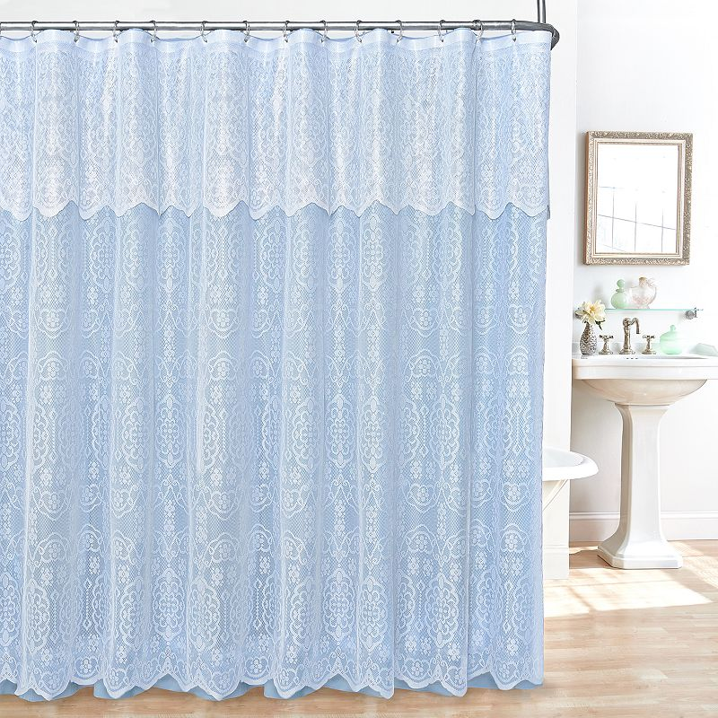 Lace 14-pc. Fabric Shower Curtain, Liner and Hook Set