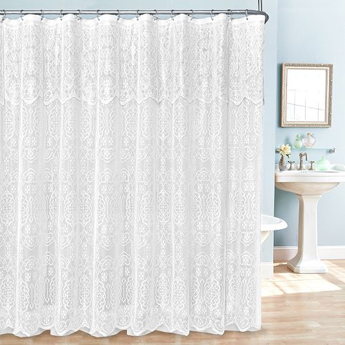 lace 14 pc fabric shower curtain liner and hook set