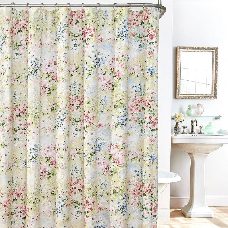 Plisse Giverny 14-pc. Fabric Shower Curtain, Liner and Hook Set