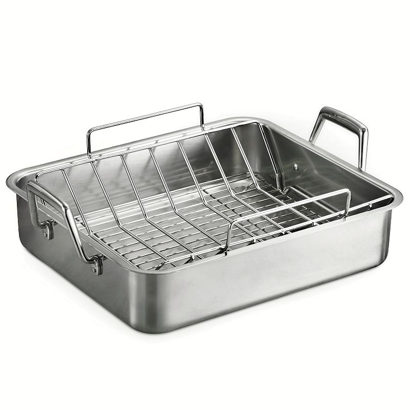 Tramontina Gourmet Prima 18/10 Stainless Steel 16.5-in. Roaster with Basting Grill and V-rack