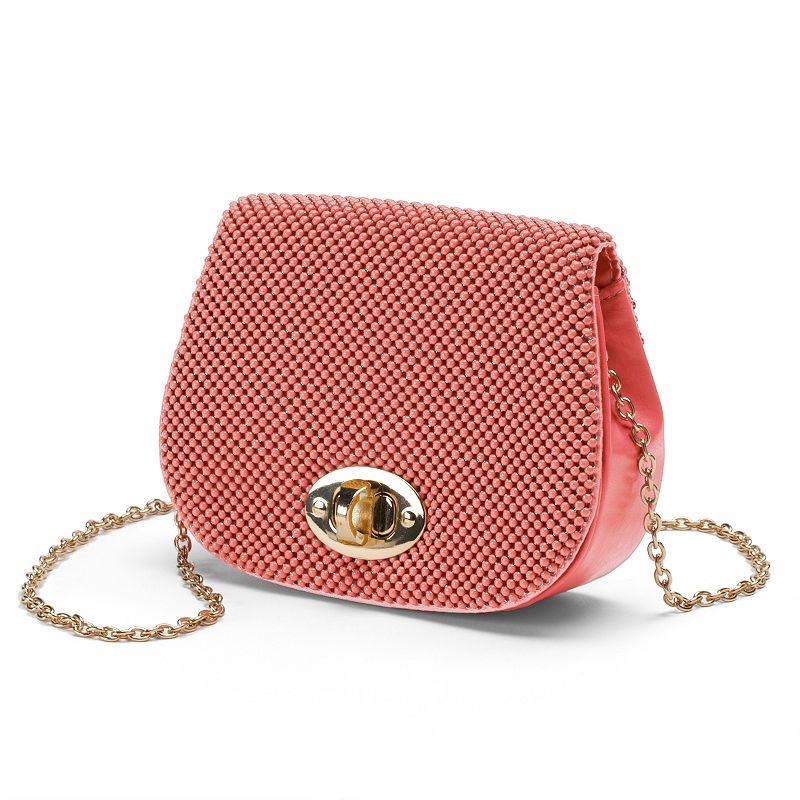 Lenore by La Regale Mesh Flap Crossbody Bag
