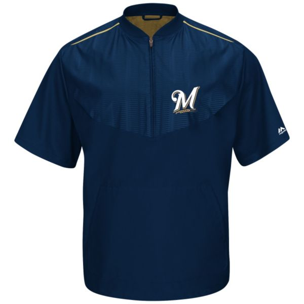 Men's Majestic Milwaukee Brewers On-Field Cool Base Training Jacket