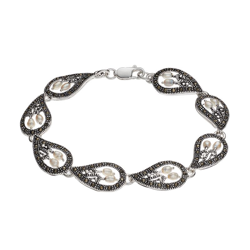 Freshwater Cultured Pearl & Marcasite Teardrop Bracelet