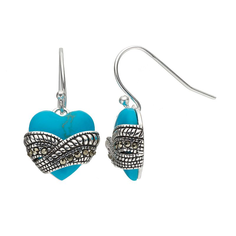 Tori Hill Simulated Turquoise & Marcasite Sterling Silver Heart Drop Earrings