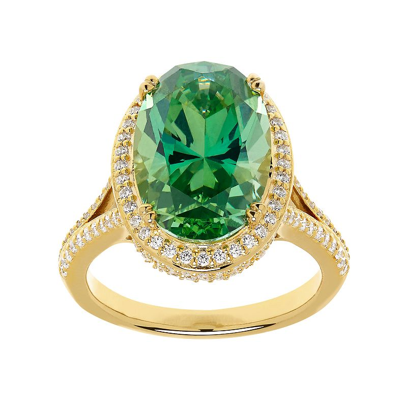 Emotions14k Gold Over Silver Halo Ring - Made with Swarovski Cubic Zirconia