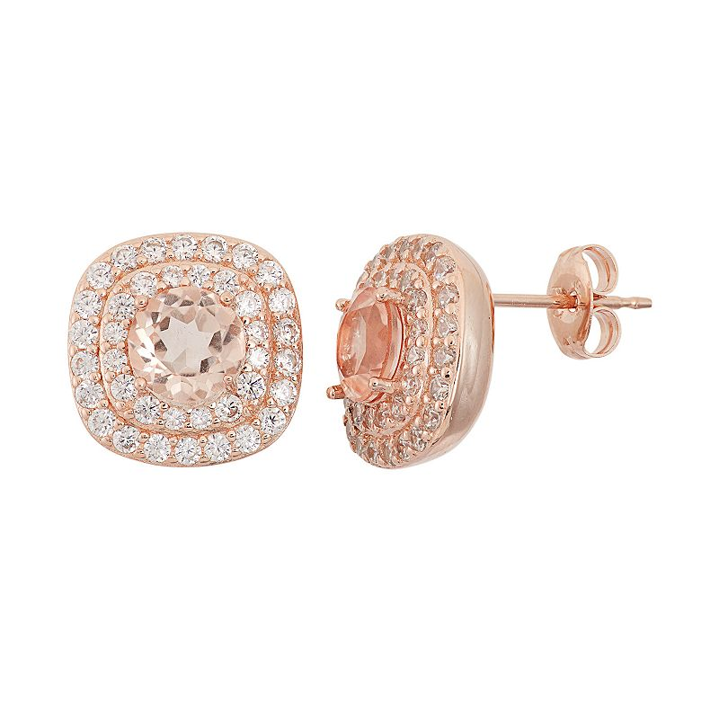 Peach Quartz Doublet & Cubic Zirconia 18k Rose Gold Over Silver Halo Stud Earrings