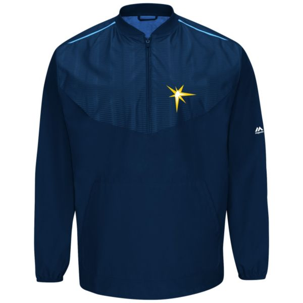 Men's Majestic Tampa Bay Rays On-Field Cool Base Long-Sleeve Training Jacket