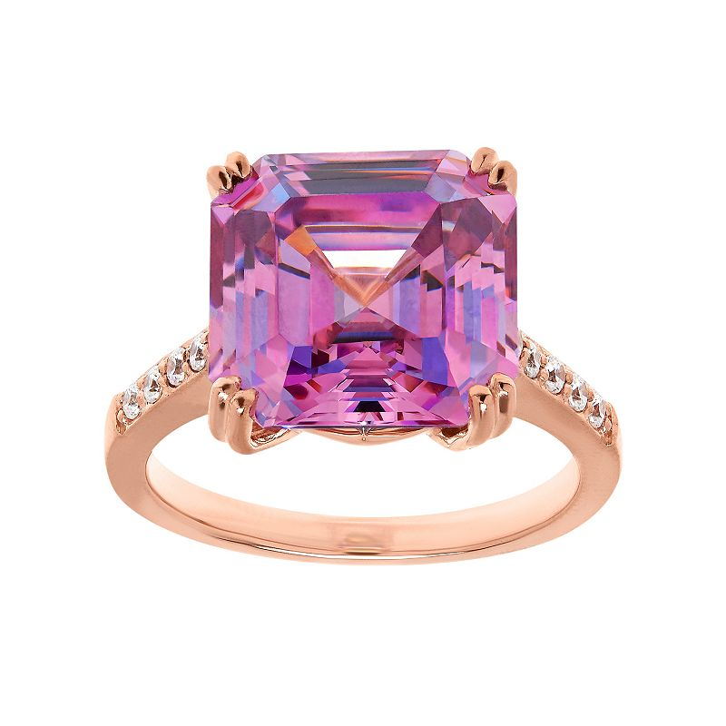 Emotions 18k Rose Gold Over Silver Ring - Made with Swarovski Cubic Zirconia