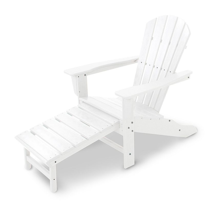 POLYWOOD® Palm Coast Ultimate Adirondack Outdoor Chair with Hideaway Ottoman