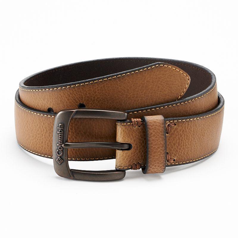 Columbia Textured Bridle Tan Leather Belt - Men