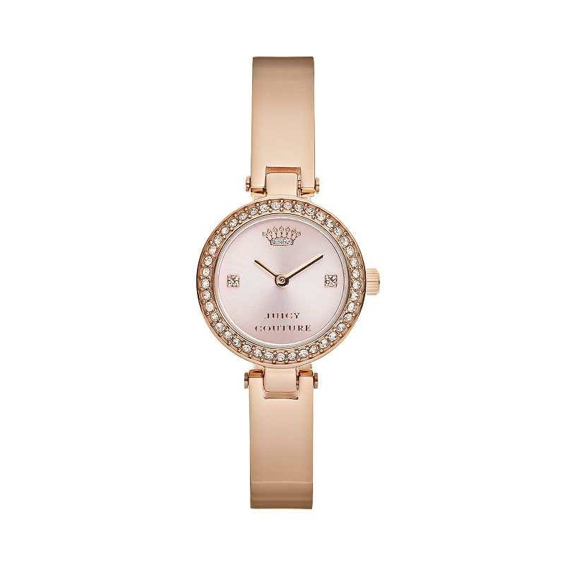 Juicy Couture Women's Luxe Couture Crystal Stainless Steel Half-Bangle Watch