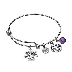 love this life Amethyst Stainless Steel & Silver-Plated Angel Charm Bangle Bracelet