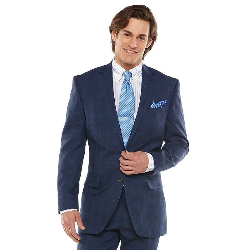 Men's Chaps Black Label Classic-Fit Blue Plaid Wool-Blend Stretch Suit Jacket