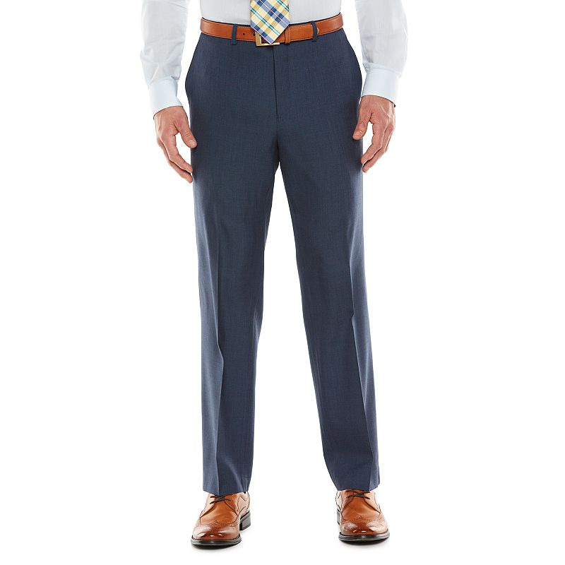 Men's Chaps Black Label Classic-Fit Navy Wool-Blend Stretch Flat-Front Suit Pants