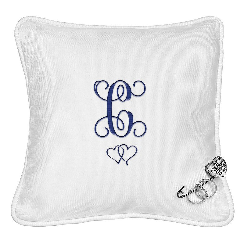 Cathy's Concepts Personalized Double Hearts Ring Bearer Pillow