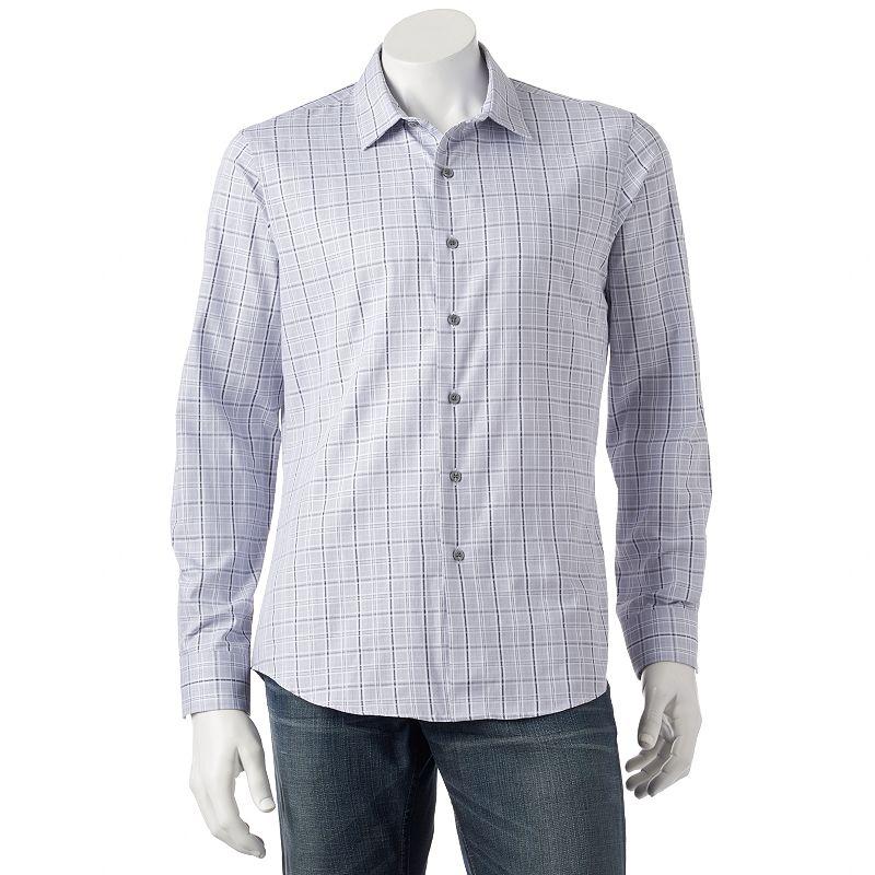Men's Apt. 9 Slim-Fit Dobby Plaid Woven Casual Button-Down Shirt