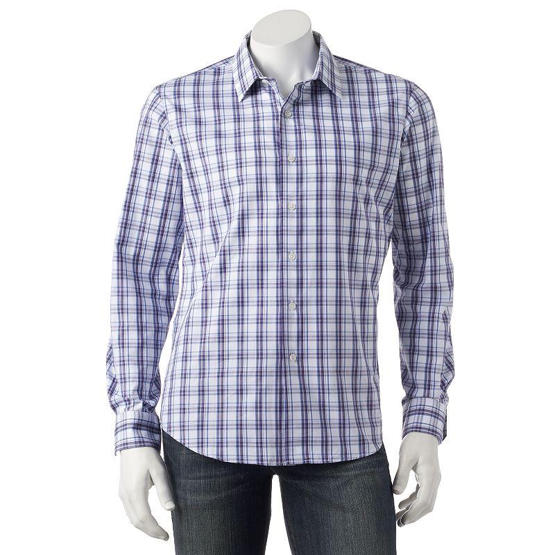 Men's Apt. 9® Slim-Fit Plaid Woven Casual Button-Down Shirt