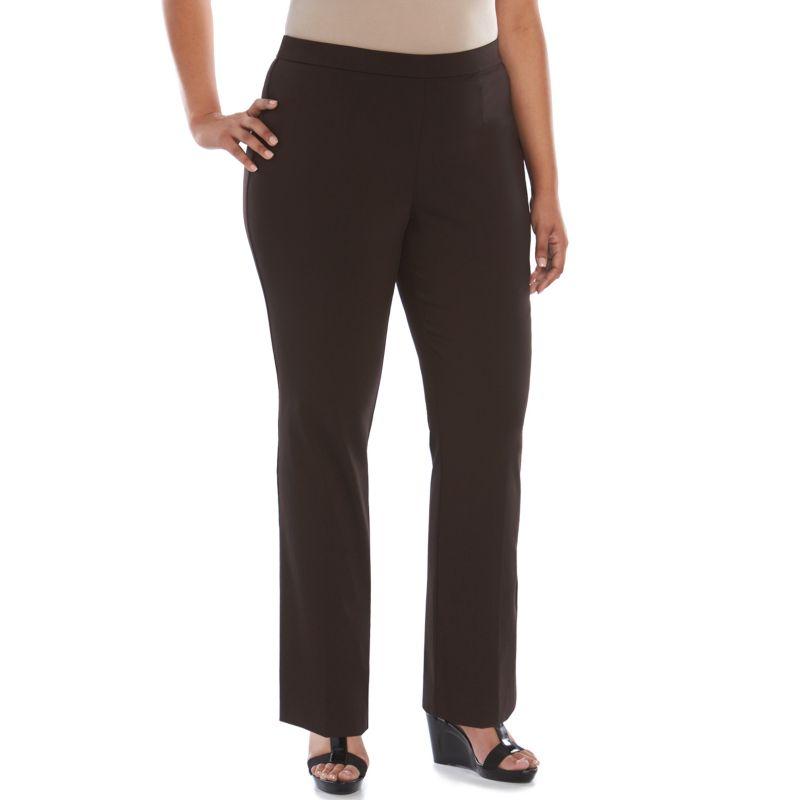 Plus Size Dana Buchman Slimming Pull-On Dress Pants, Women's, Size: regular, Brown