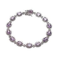 Amethyst & 1/4 Carat T.W. Diamond Sterling Silver Halo Bracelet by