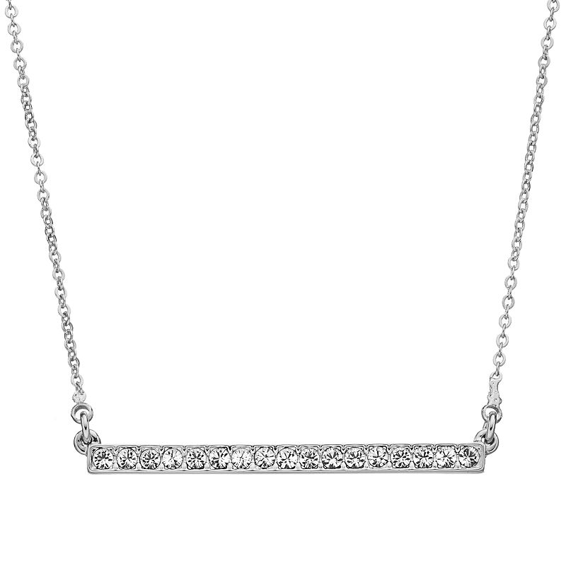 Crystal Collection Crystal Silver-Plated Bar Necklace