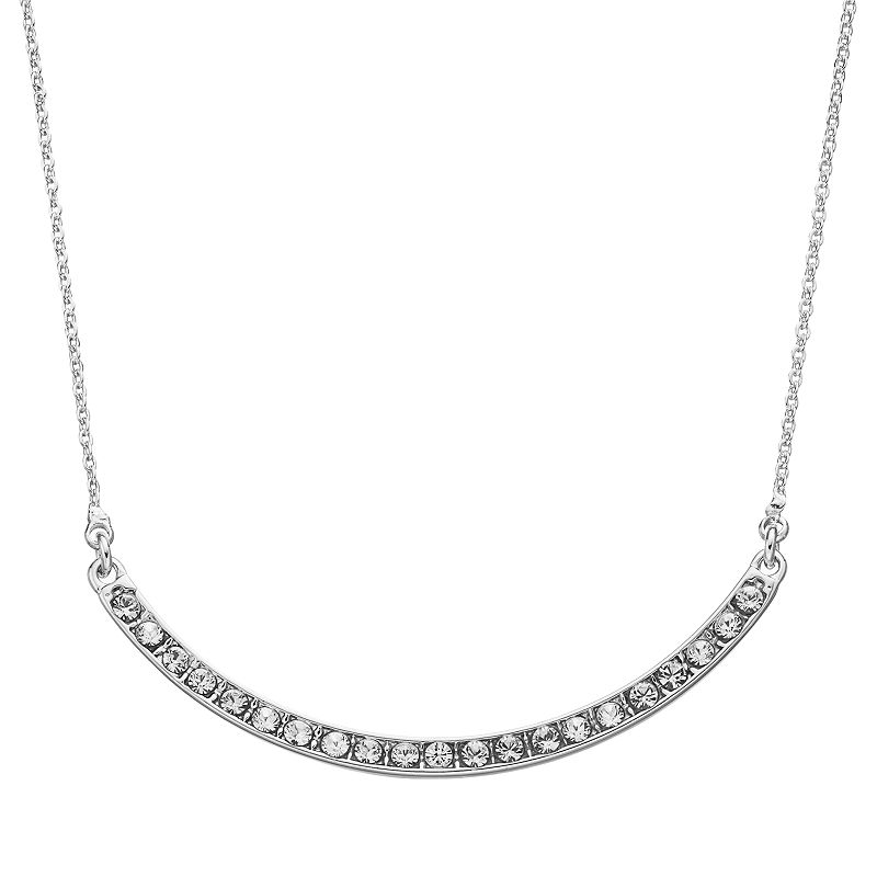 Crystal Collection Crystal Silver-Plated Curved Bar Necklace