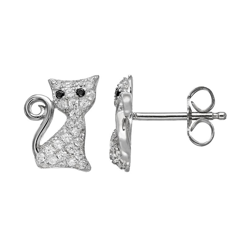 Cubic Zirconia 18k White Gold Over Silver Cat Stud Earrings