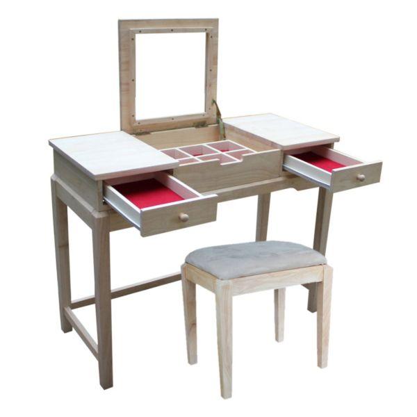 International Concepts 2-piece Vanity Table & Bench Set