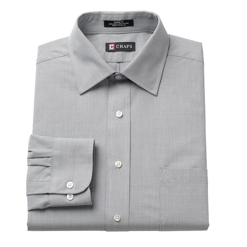 Men's Chaps Classic-Fit Solid Broadcloth Spread-Collar Dress Shirt