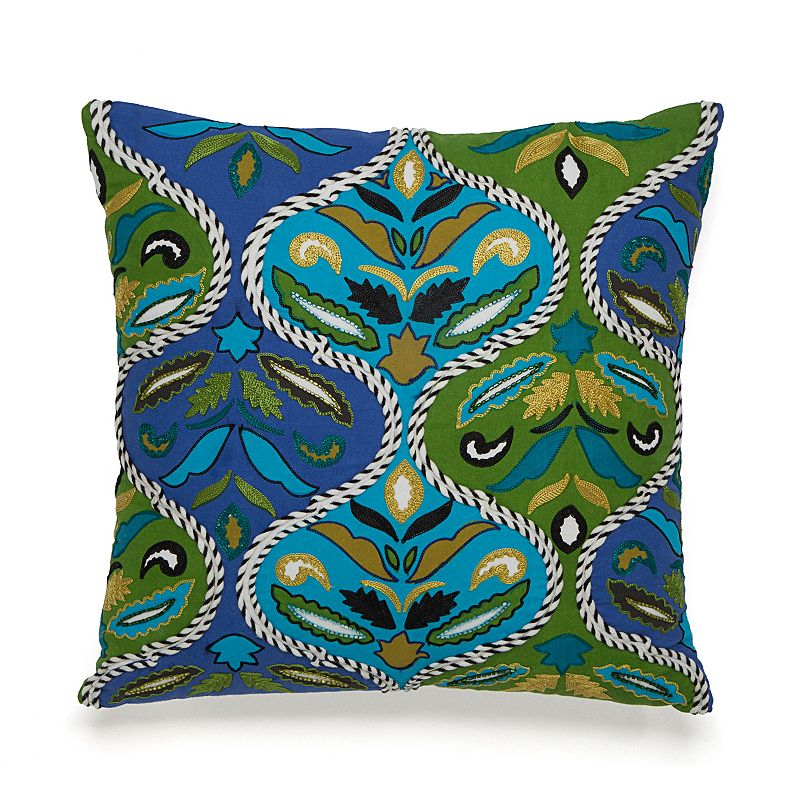 Collier Campbell Pondicherry Embroidered Ogee Throw Pillow